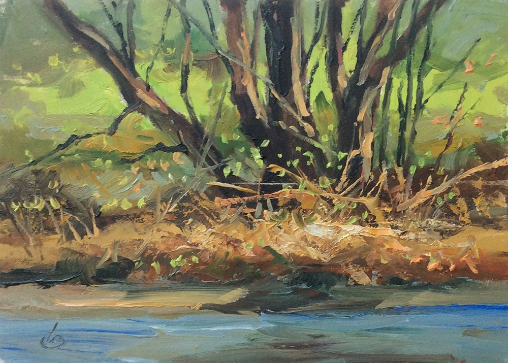 """CREEKSIDE TREES"" original fine art by Tom Brown"