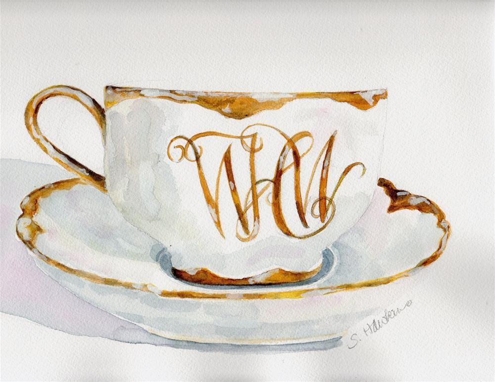 """Monogrammed Tea Cup"" original fine art by Sheryl Heatherly Hawkins"