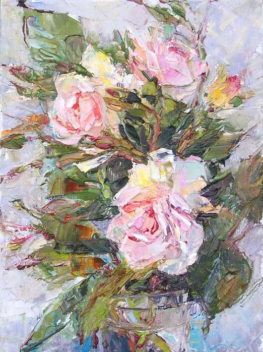 """GArden Roses,still life,oil on canvas,7x5,priceNFS"" original fine art by Joy Olney"