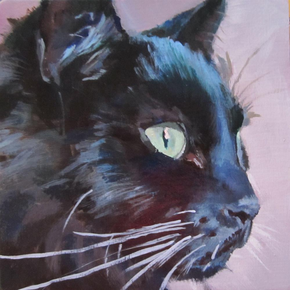 """Black Cat Profile"" original fine art by Kaethe Bealer"