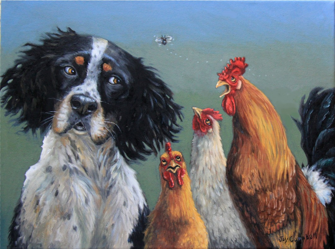 """Chicken Dog"" original fine art by Joy Campbell"