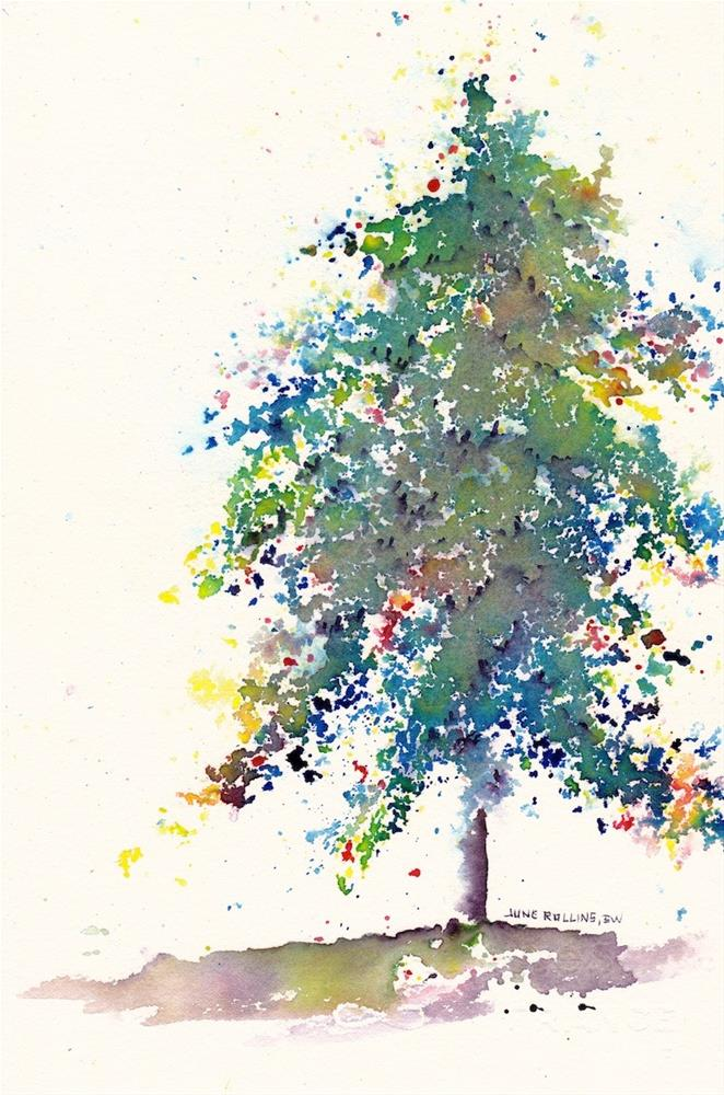 """Evergreen Triad Tree 1"" original fine art by June Rollins"