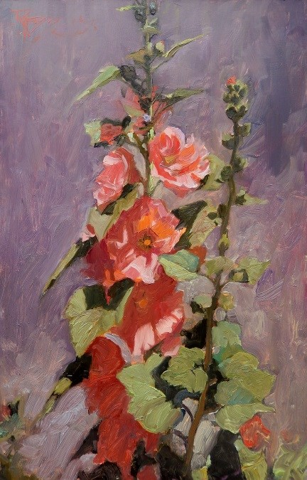 """Hollyhocks  Floral studio painting by Robin Weiss"" original fine art by Robin Weiss"