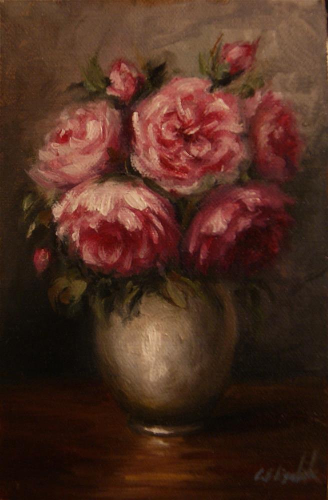 """OId English Roses in Vase"" original fine art by Carolina Elizabeth"