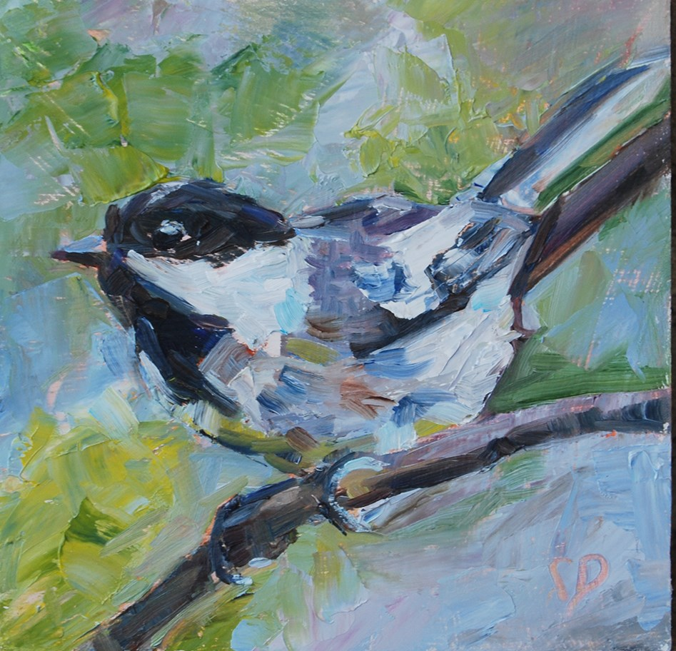 """Little Chickadee /2"" original fine art by Carol DeMumbrum"
