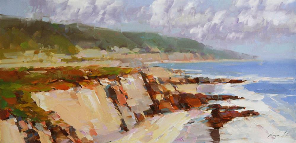 """OCEAN SIDE WEST COAST IMPRESSIONISM"" original fine art by V Yeremyan"