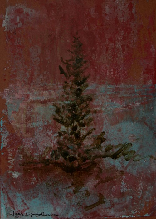 """Conifer In The Snow"" original fine art by Jana Johnson"