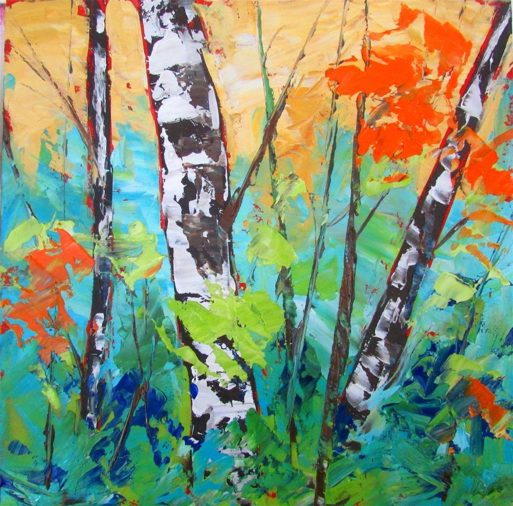 """""""U8 x 8 inch oil Little Birches #9"""" original fine art by Linda Yurgensen"""