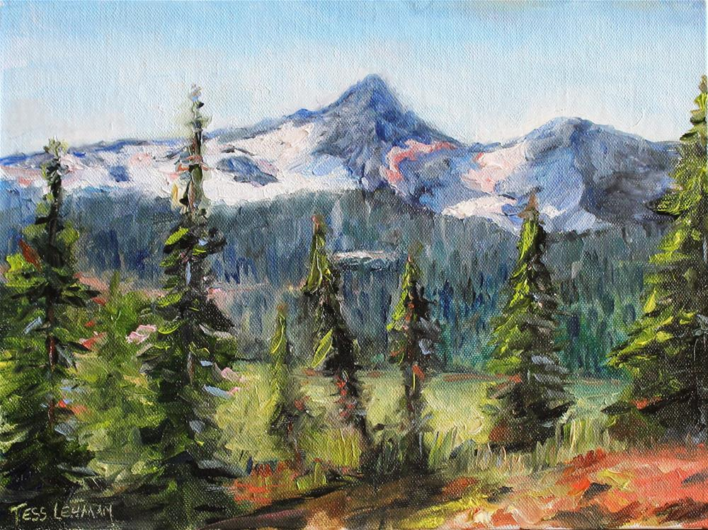 """Snowy Pink Mountains"" original fine art by Tess Lehman"