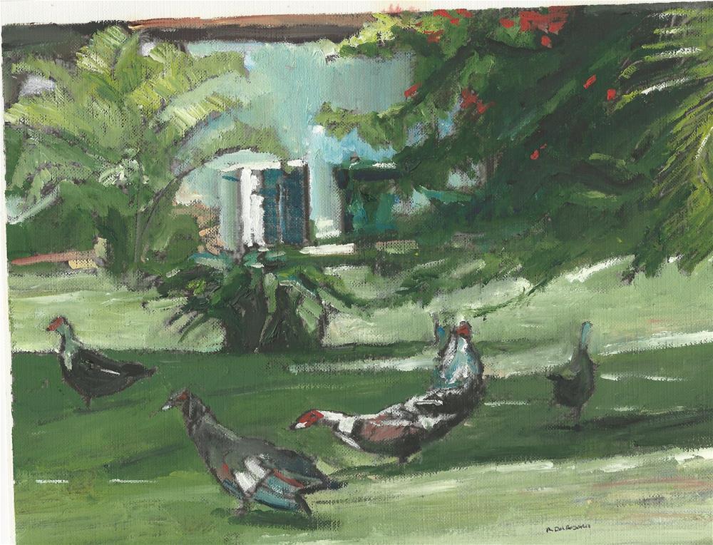 """The Patio Ducks (10.5 x 8.5 oil on canva sheet - no frame)"" original fine art by Ramon DelRosario"