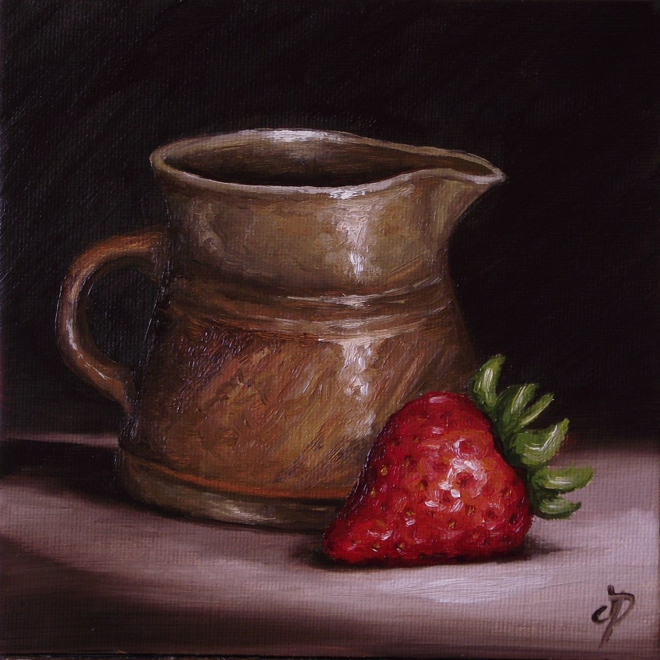 """Strawberry with pottery jug"" original fine art by Jane Palmer"