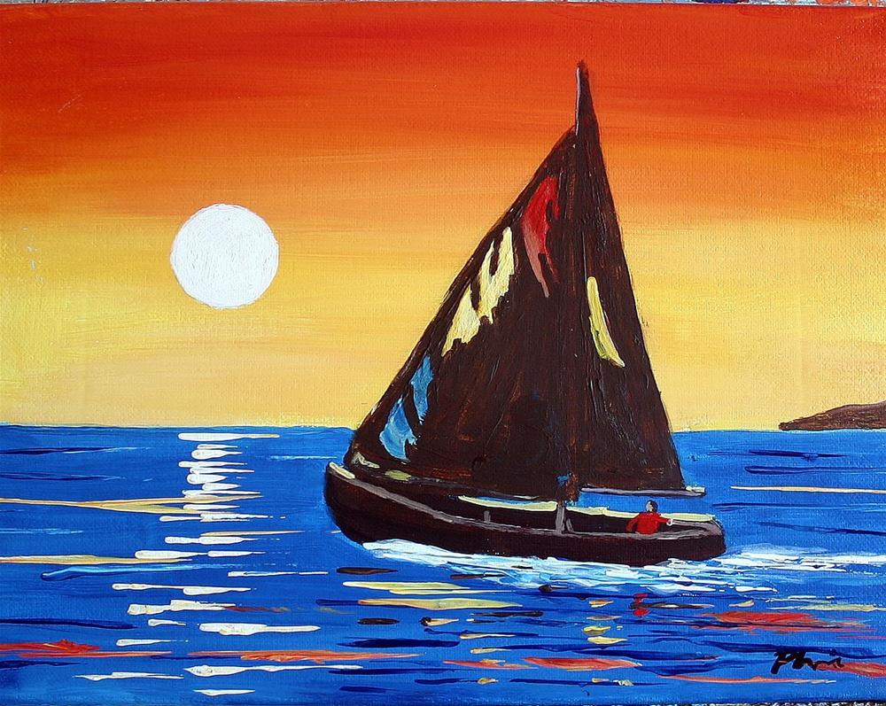 """SUNSET SAIL"" original fine art by Bob Phillips"