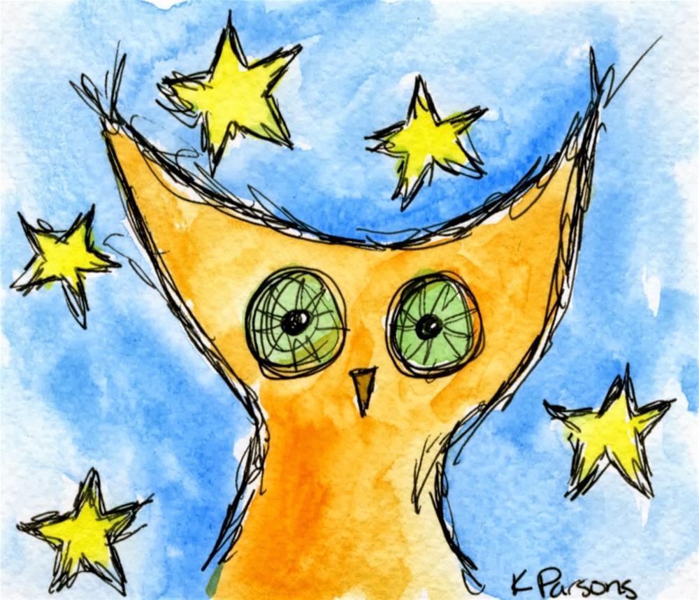 """Fleepin' Beepin' Owl"" original fine art by Kali Parsons"