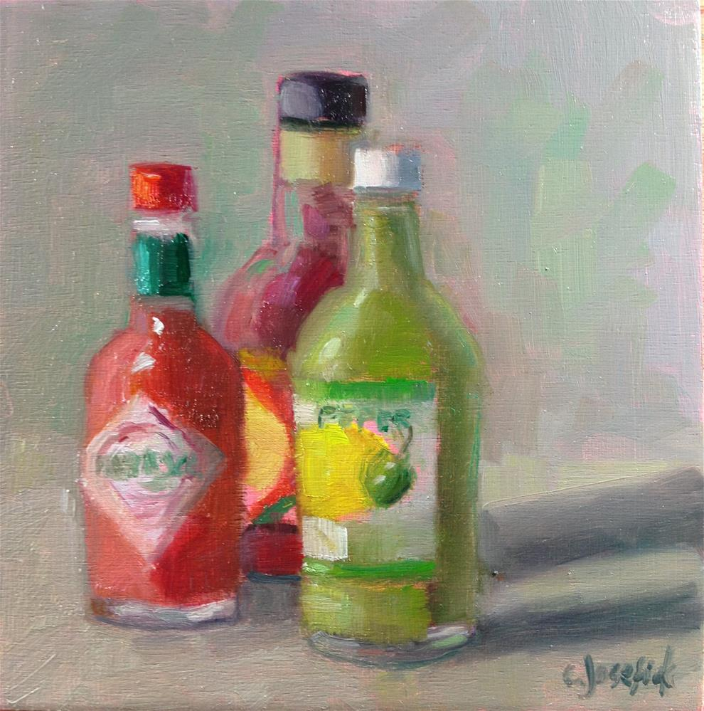 """Hot Sauces"" original fine art by Carol Josefiak"