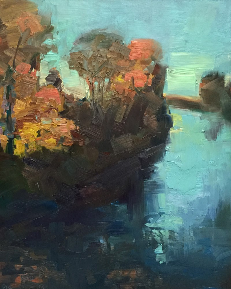 """Evening Light From the Ferry Street Bridge"" original fine art by Patti McNutt"