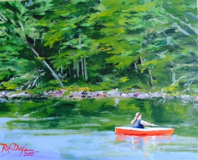 """Cathy Fishing on A Maine Lake"" original fine art by Richard Doyle"