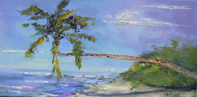 """Palm That Stretched to the Sea 6x12, Original Daily Painting"" original fine art by Carol Schiff"