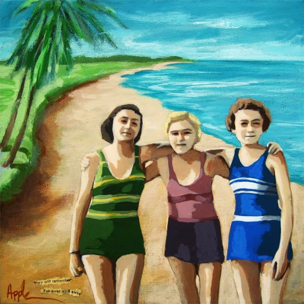 """Forever Friends - women on the beach"" original fine art by Linda Apple"