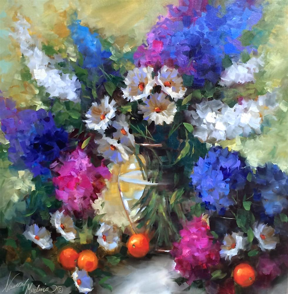"""Daisy Hearts and Delphiniums and a French Dream Getaway - Nancy Medina Art Videos and Classes"" original fine art by Nancy Medina"