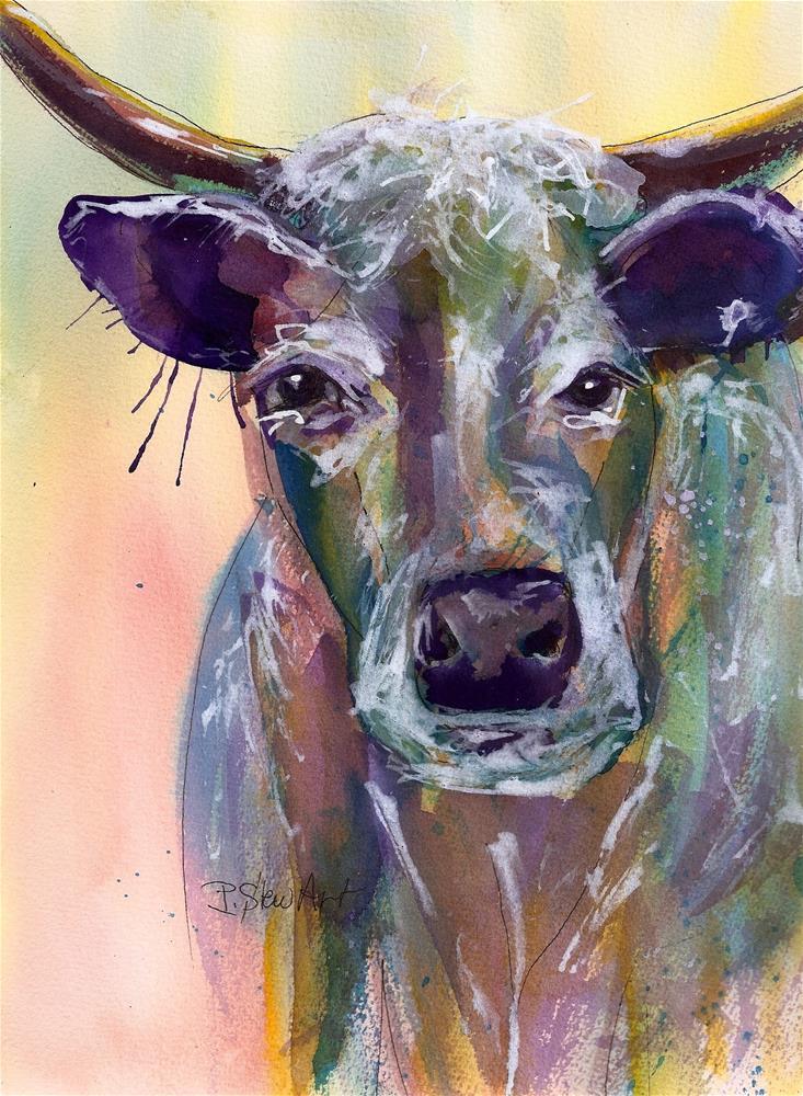 """""""8.5 x 11.5 Purple Cow Bovine Horns Watercolor and Pen, SFA Penny Lee StewArt"""" original fine art by Penny Lee StewArt"""