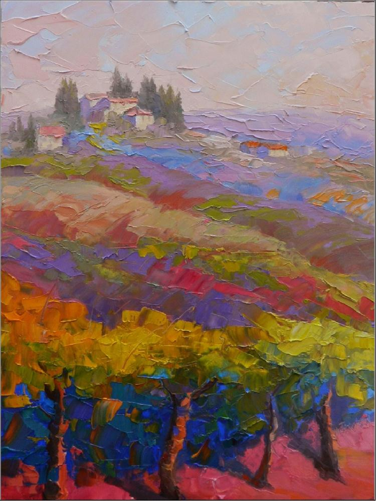 """Walking to San Gimignano, 12x16, oil on board, Tuscany, paintings of San Gimignano, vineyards, Tus"" original fine art by Maryanne Jacobsen"