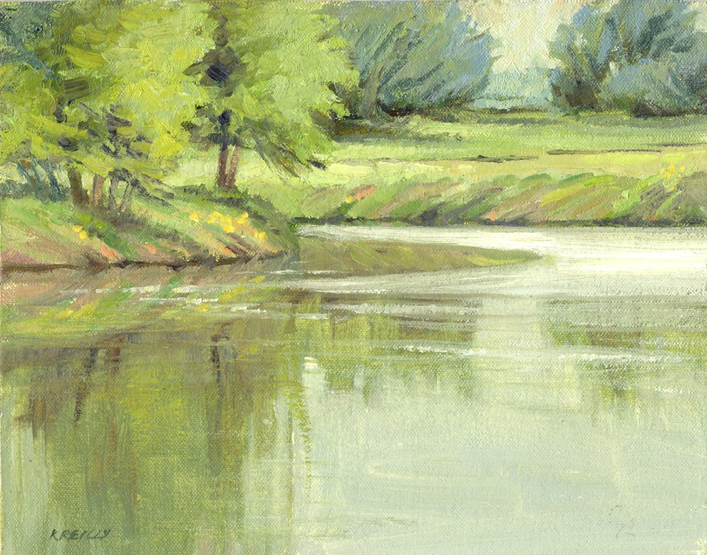 """Green Reflections"" original fine art by Kath Reilly"