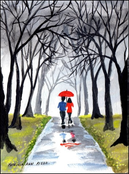 """""""Just a Walk in the Rain"""" original fine art by Patricia Ann Rizzo"""