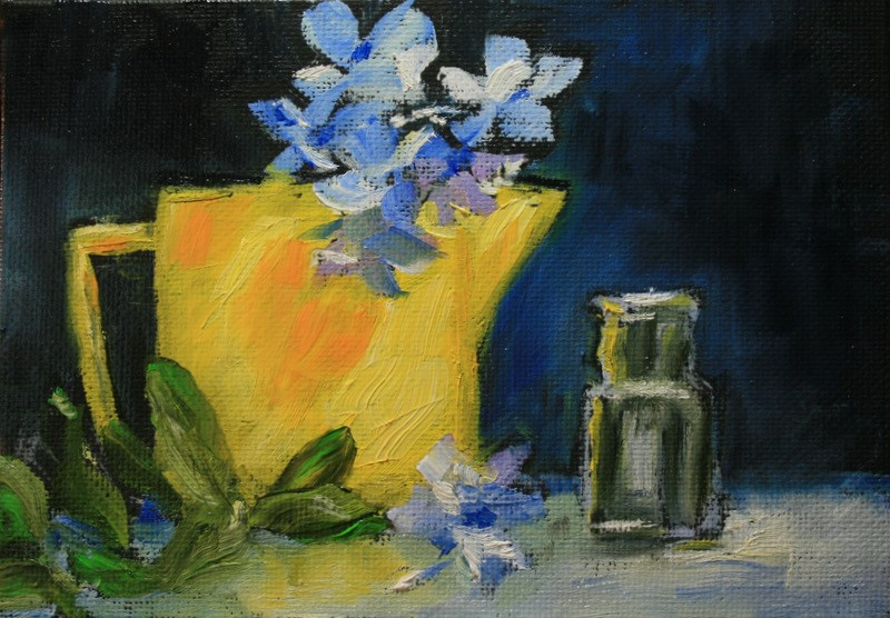 """Blue Flowers in Yellow Pitcher"" original fine art by Jean Nelson"