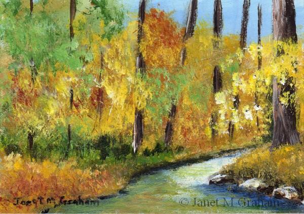 """""""Autumn River ACEO"""" original fine art by Janet Graham"""