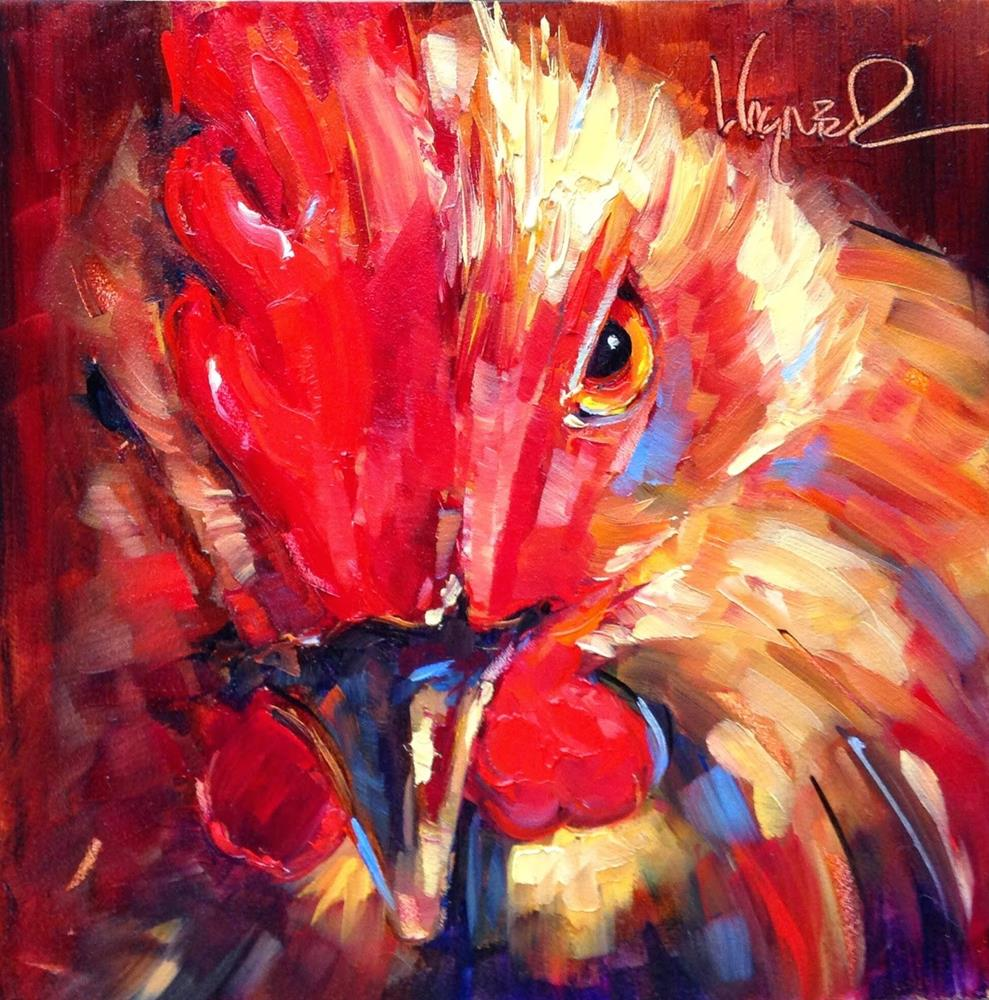 """Loving Color Day 15- ORIGINAL  ROOSTER  PAINTING in OILS by OLGA WAGNER"" original fine art by Olga Wagner"