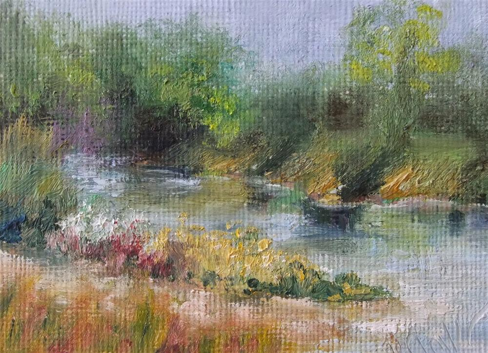 """Treasure Isle Morning, 2.5 x 3.5 Oil Landscape"" original fine art by Donna Pierce-Clark"