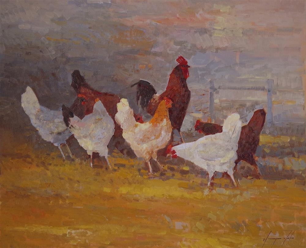"""Hens, Original oil painting, Traditional art, fine art, Impressionism, One of a kind"" original fine art by V Y"