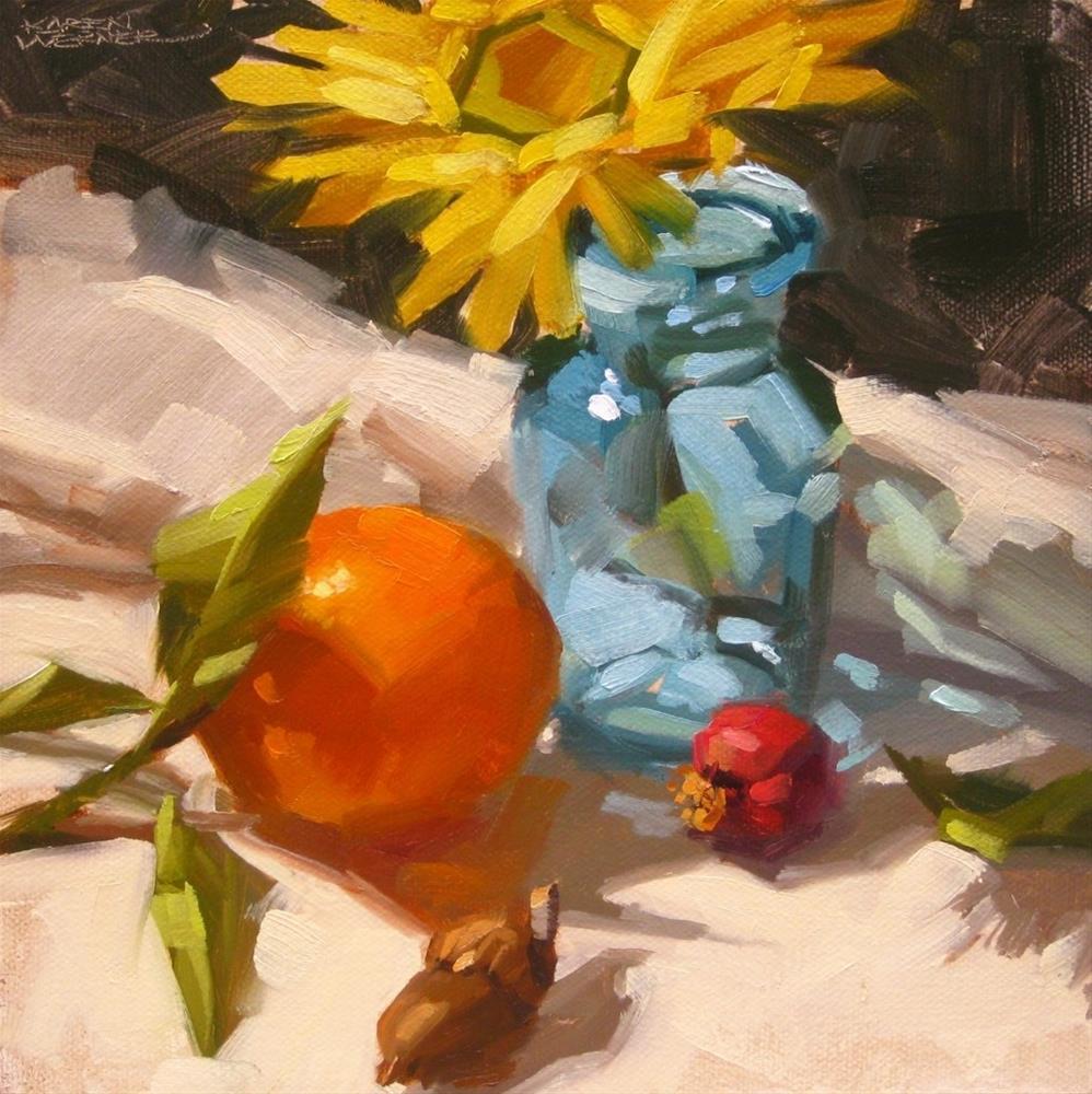 """""""Orange Meets Blue"""" original fine art by Karen Werner"""