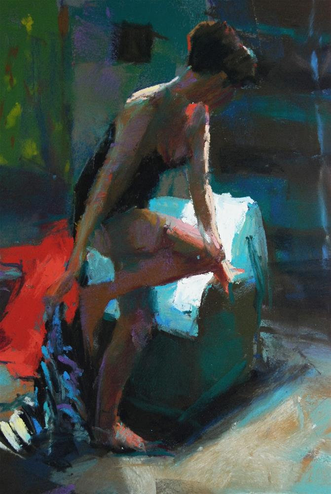 """Model with Striped Towel"" original fine art by Margaret Dyer"