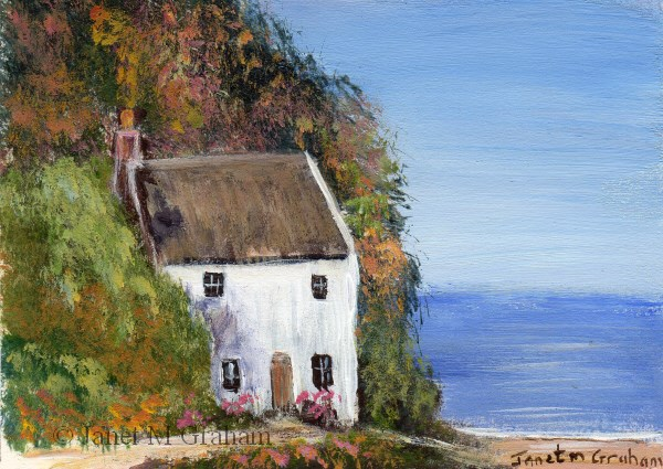 """Cottage by the Sea ACEO"" original fine art by Janet Graham"