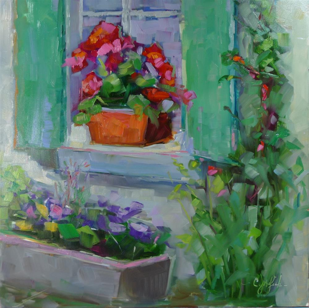 """Green Shutters"" original fine art by Carol Josefiak"
