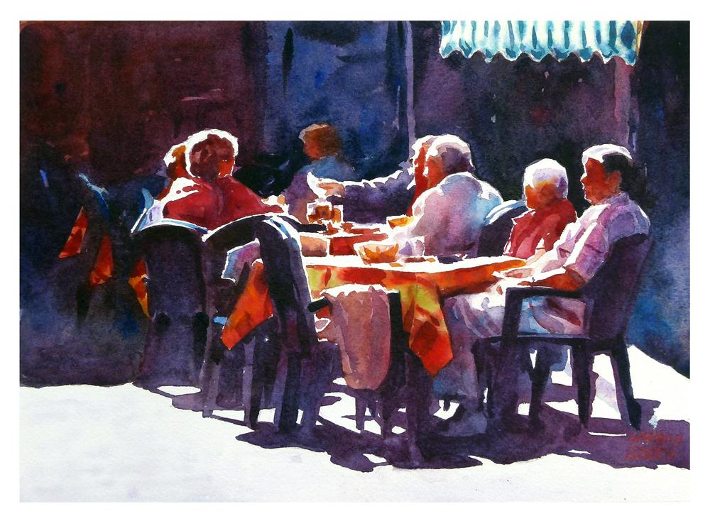 """Paying the bill."" original fine art by Graham Berry"