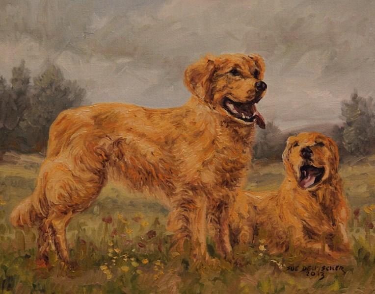 """""""Golden Retrievers"""" original fine art by Sue Deutscher"""