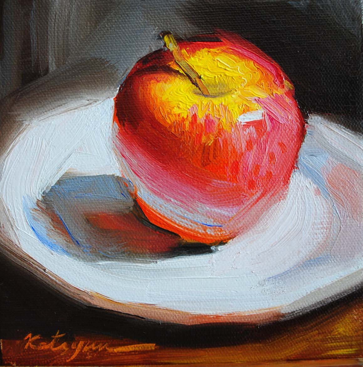 """Red Apple"" original fine art by Elena Katsyura"