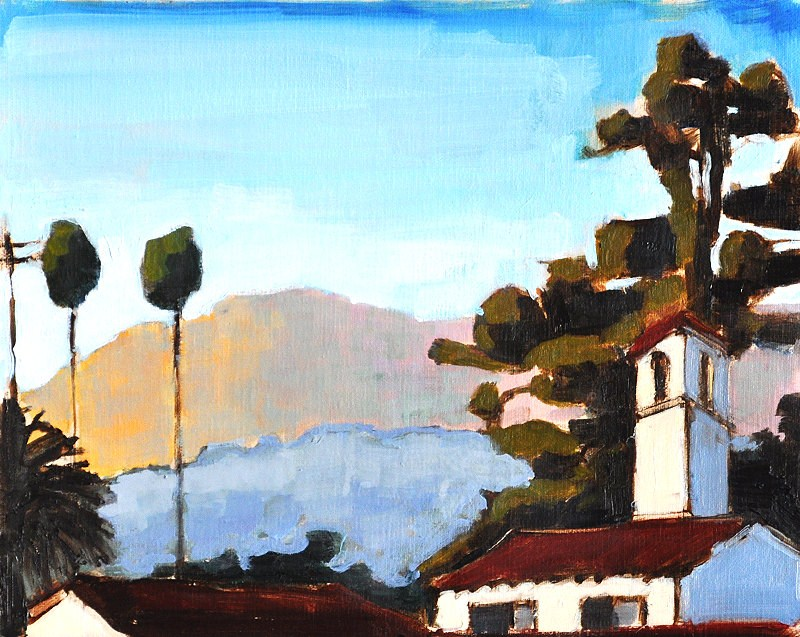 """Santa Barbara Evening Palms Landscape"" original fine art by Kevin Inman"
