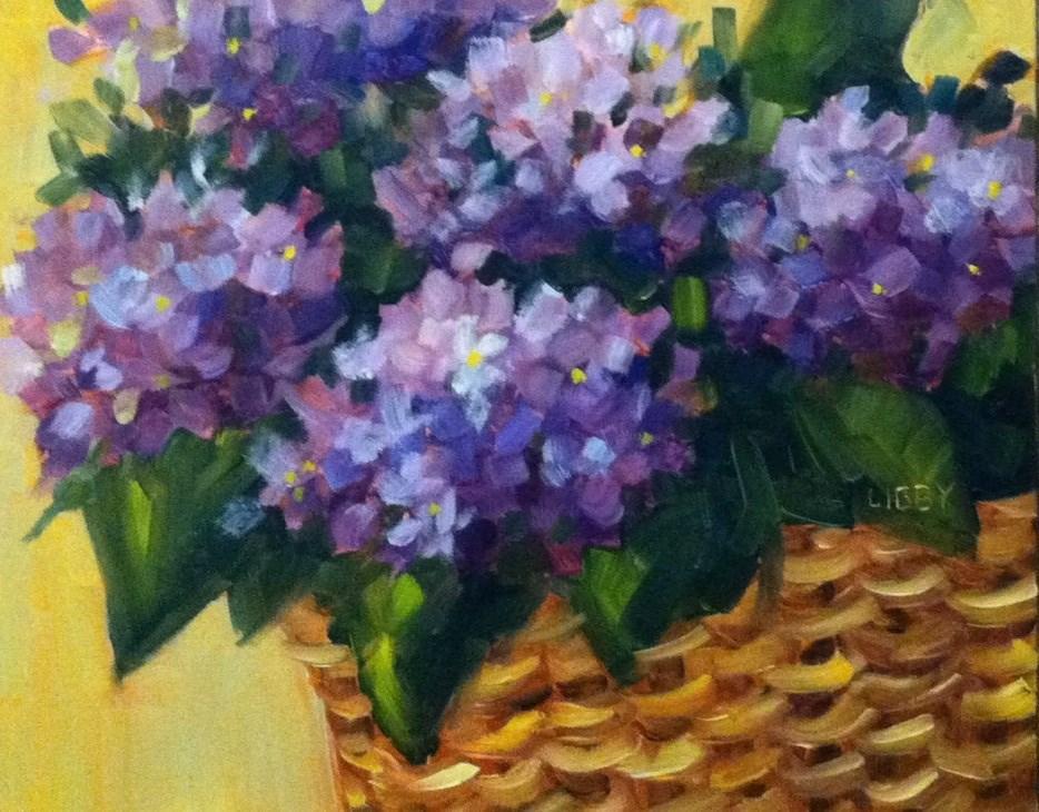 """Hydrangea Basket"" original fine art by Libby Anderson"