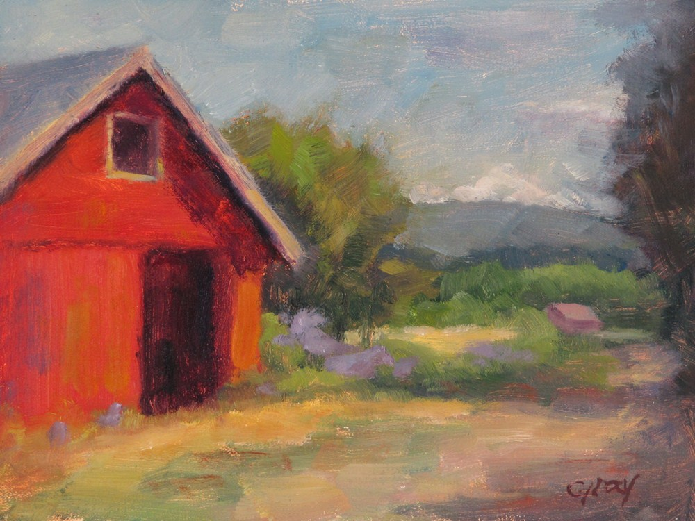 """Red Barn by the Hay Field"" original fine art by Naomi Gray"