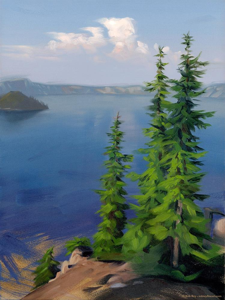 """Crater Lake, Framed"" original fine art by Rob  Rey"
