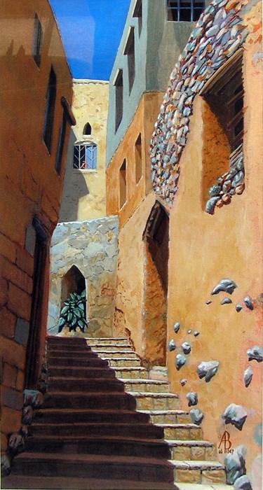 """Alleyway, Jebel Akhdar village, Oman"" original fine art by Alix Baker"