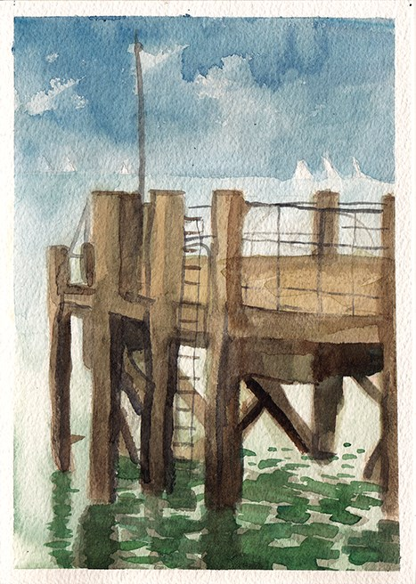 """End of the Pier"" original fine art by J M Needham"