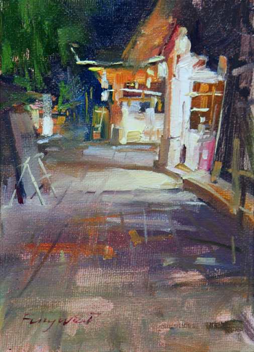 """Mid-night street"" original fine art by Fongwei Liu"