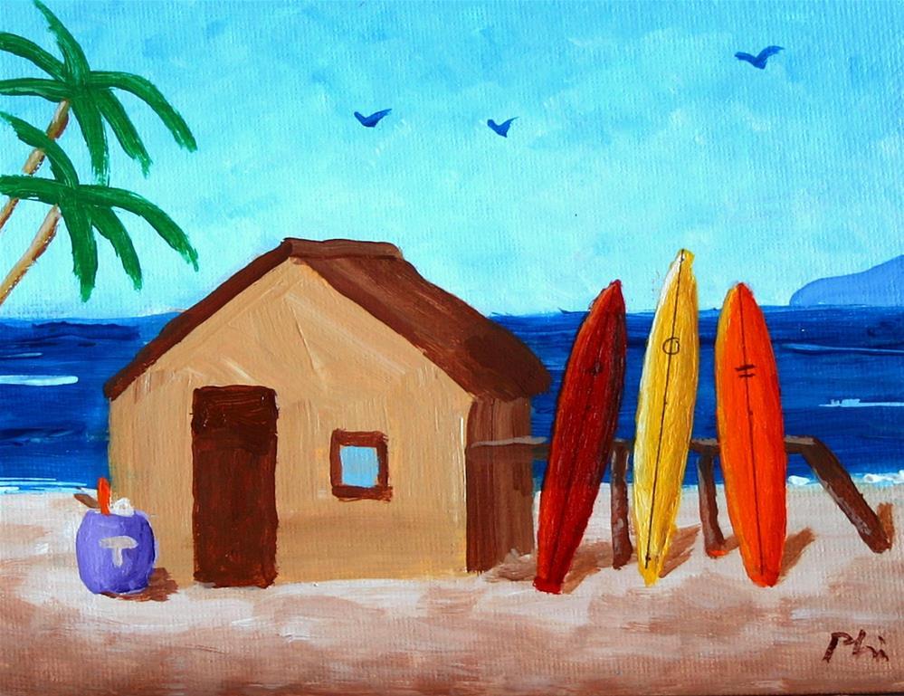 """3 SURFBOARDS"" original fine art by Bob Phillips"