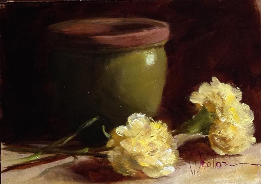 """French Pot with Carnations"" original fine art by Dorothy Woolbright"