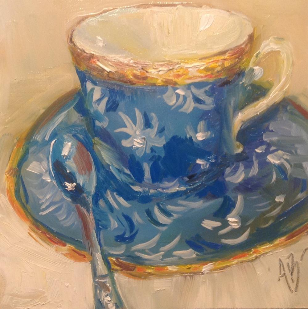 """Teacup Blue Print"" original fine art by Annette Balesteri"