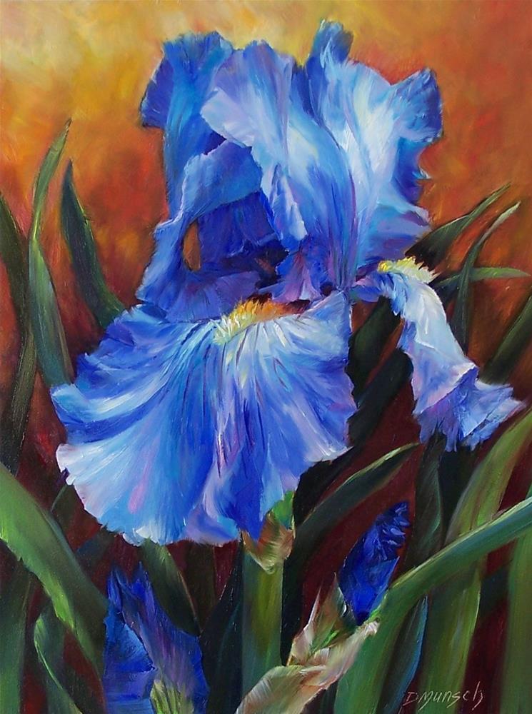"""""""Strong Blue Iris"""" original fine art by Donna Munsch"""